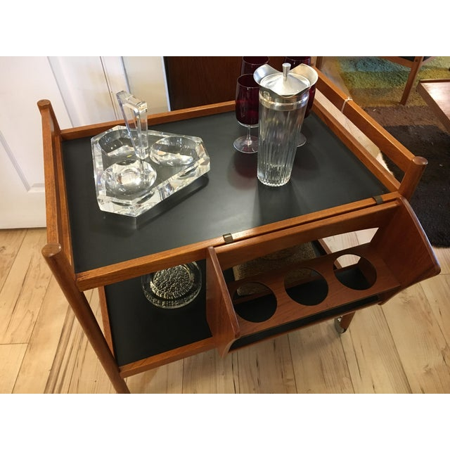 Danish Teak Bar Cart With Removable Wine Caddy - Image 10 of 10
