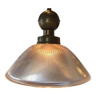 Brass & Glass Holophane Pendant