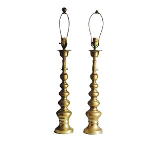 Mid-Century Brass Stacked Lotus Lamps - A Pair