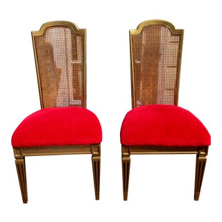Hollywood Regency French Cane Chairs - Pair
