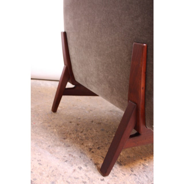 Early Jens Risom Walnut and Mohair Lounge Chair - Image 9 of 11