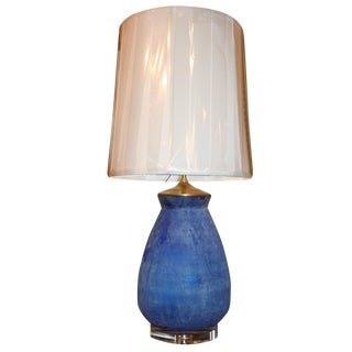 Modern Frosted Royal Blue Glass Table Lamp