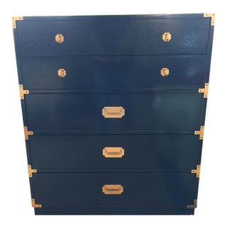 Navy Campaign Highboy Dresser