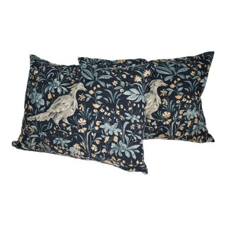 Pair of Pictorial Vintage Indigo Linen Pillows