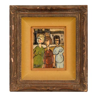 """3 Women"" Original Mid-Century Cubist Oil Painting by Phillipe Marchand"
