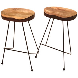 Contemporary Reclaimed Wood Barstools - A Pair