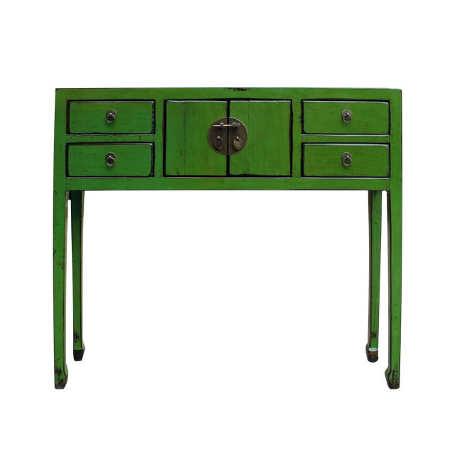 Chinese Distressed Green Console Table Chairish
