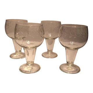Vintage Etched Crystal Hollow Stem Pilsner Glasses - Set of 4