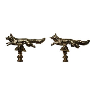 Solid Brass Fox Finials - Pair