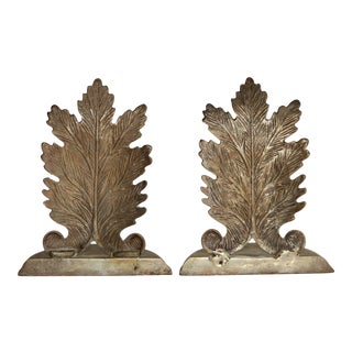 Brass Leaf Bookends - A Pair
