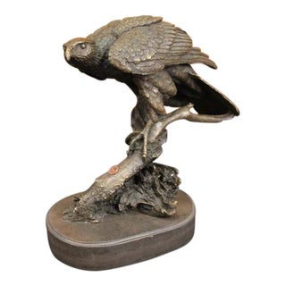 American Eagle on a Tree Branch Bronze Sculpture