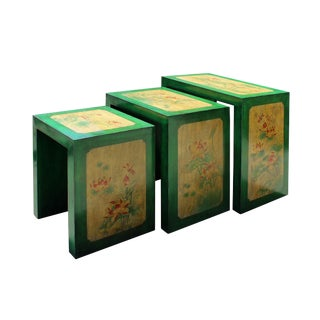 Distressed Oriental Lotus Flower Nesting Tables - Set of 3