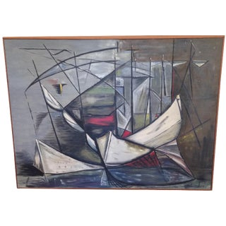 Sailboats in Harbour, 1950s Abstract Painting