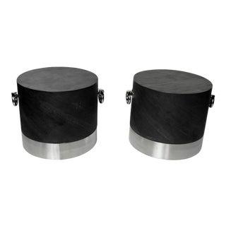 Modern Faux Stone & Chrome Side Tables - A Pair