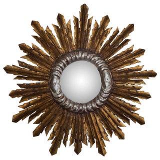 Mid Century Gilt Wood Sunburst Mirror With Silver-Leaf Trim