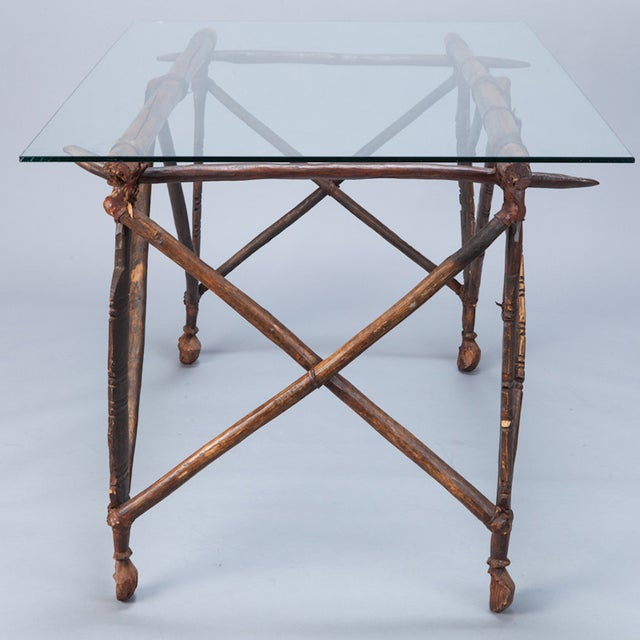 North African Carved Wood Table With Glass Top - Image 4 of 8