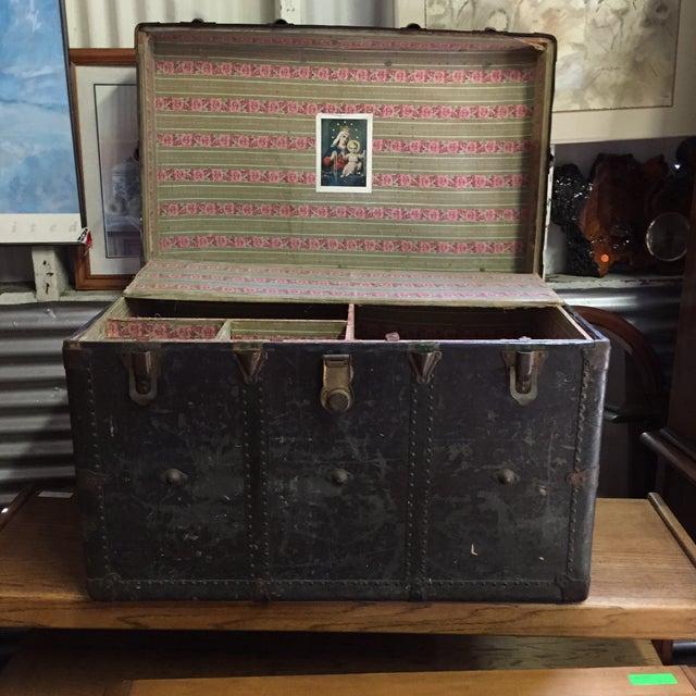 Vintage Leather Handle Steamer Trunk - Image 7 of 9