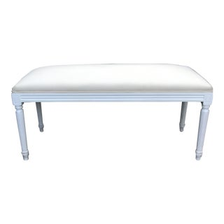 Louis XV Style Linen Upholstered Bench