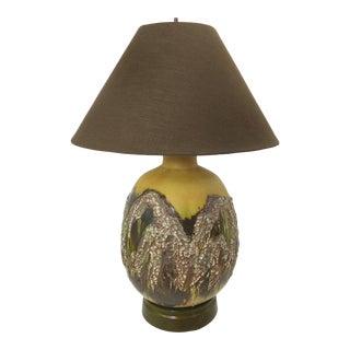 Large Vintage Brutalist Lamp with Lava Glaze