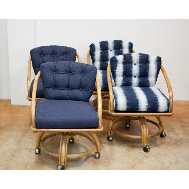 Rolling Dinette Chairs: Rattan Rolling Dining Chairs - Set Of 4