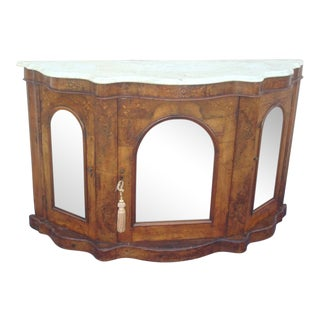 Walnut Inlay Design Mirror Door Serpentine Marble Top Credenza / Server
