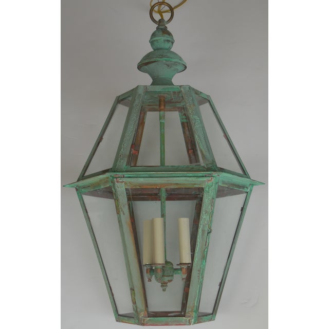 Hexagon Shabby Chic Hanging Copper Lantern - Image 2 of 11
