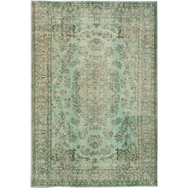 "Green Vintage Turkish Overdyed Rug - 7'2"" X 10'6"" - Image 1 of 2"