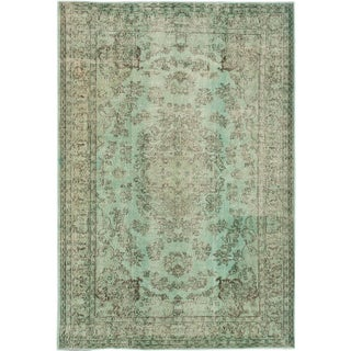 "Green Vintage Turkish Overdyed Rug - 7'2"" X 10'6"""