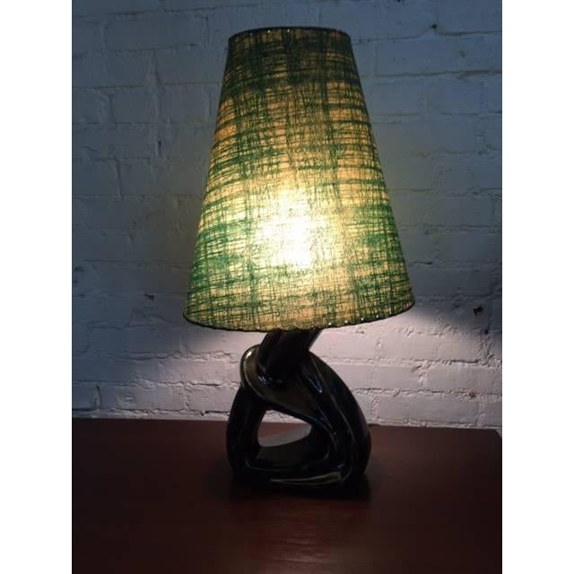 Image of Mid-Century 1950s Green Ceramic Glaze Lamp