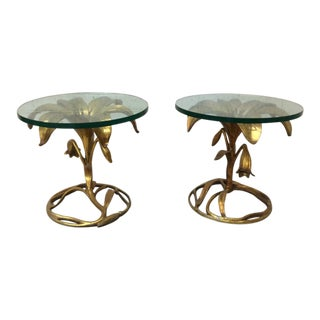 Arthur Court Gold Gilt Lily SideTables - A Pair