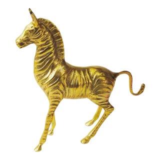 Large Vintage Brass Zebra
