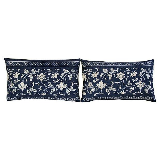 Image of Custom Indigo Blue Linen & Down Pillows - Pair
