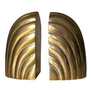 Vintage Modern Brass Waterfall Design Bookends - A Pair