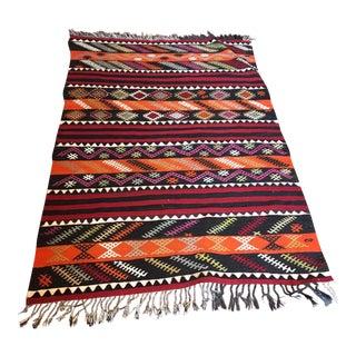 Embroidered Anatolian Kilim Rug - 5'4 x 3'6
