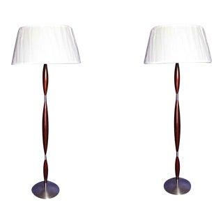 Vintage Mid Century Modern Design Brushed Metal Mahogany Floor Lamps - a Pair