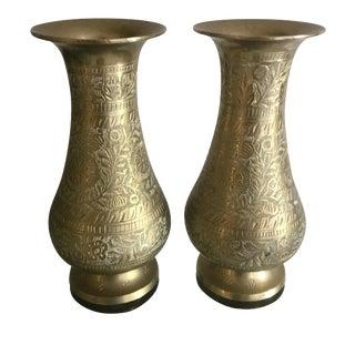 Engraved Brass Matching Vase Pair