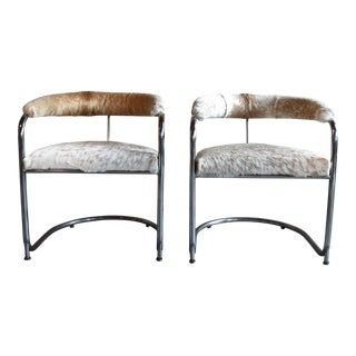 Cantilever Chrome Hide Chairs - A Pair