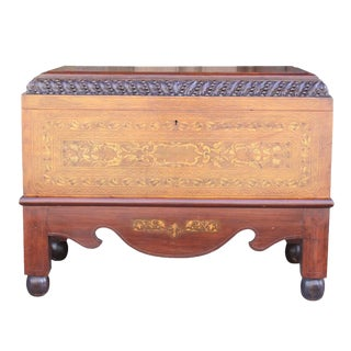 Vintage Italian Carved Coffer On Stand