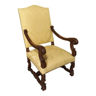 Circa 1890 Antique French Walnut Wood Armchair