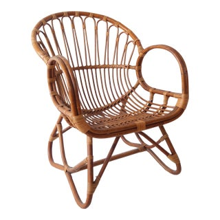 Vintage Mid Century Modern Rattan and Bamboo Chair - 2 in Stock