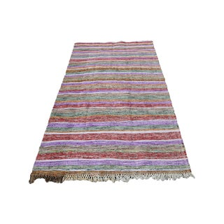 Vintage Turkish Striped Multi Color Handmade Flatweave Kilim - 5′8″ × 10′8″
