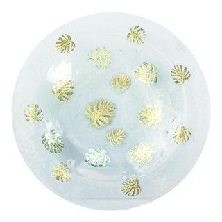 Gold Leaf Glass Centerpiece Bowl
