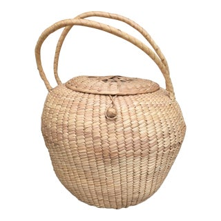 Woven Lidded Basket With Handles