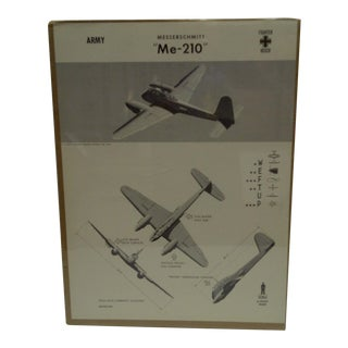 Circa 1943 Wwii Aircraft Recognition Poster Messerschmitt Me 210 German