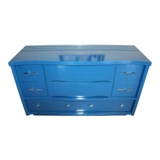 Vintage Mid-Century Modern Blue Lacquered Dresser