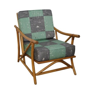 Mid-Century Rattan Frame Lounge Chair