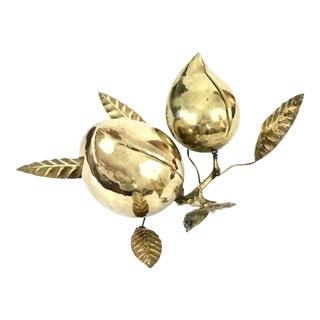 Vintage Brass Floral Seed Pod Sculpture