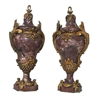 c. 1820 Bronze and Marble Cassolettes - A Pair