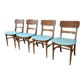 Mid-Century Sculpted Walnut Dining Chairs with Blue Seats - Set of 4