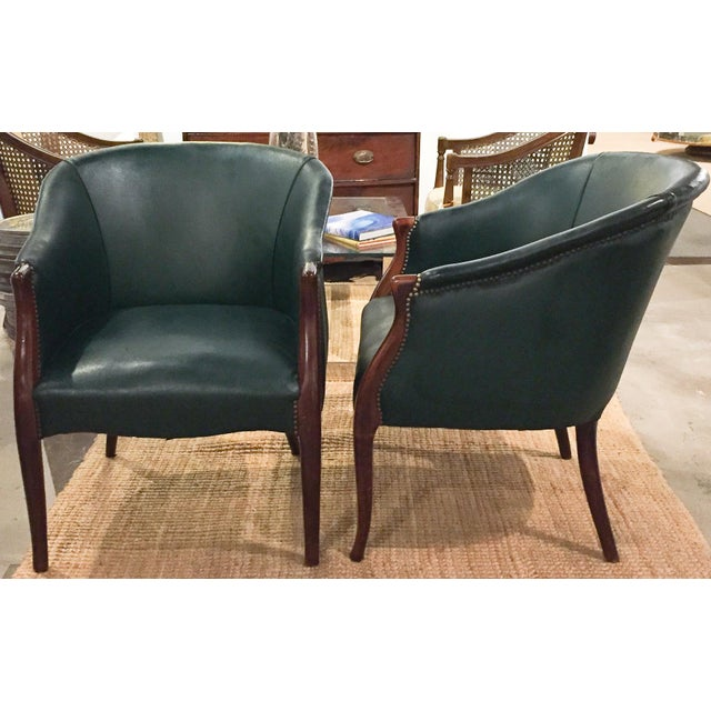 Green Barrel Chairs, Nail Head Trim - Pair - Image 3 of 9